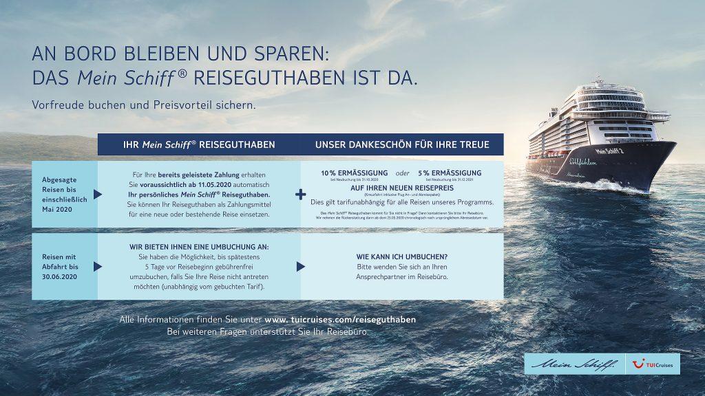 TUI Cruises führt Mein Schiff Reiseguthaben ein
