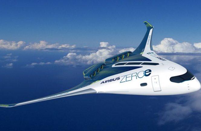 Grafische Darstellung des Airbus Wasserstoff-Flugzeugs.